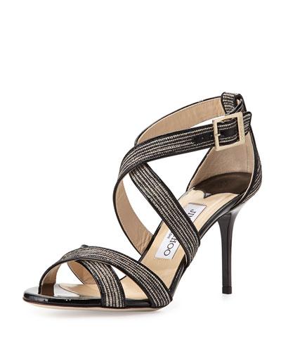 Louise Striped Glitter Sandal, Natural/Black