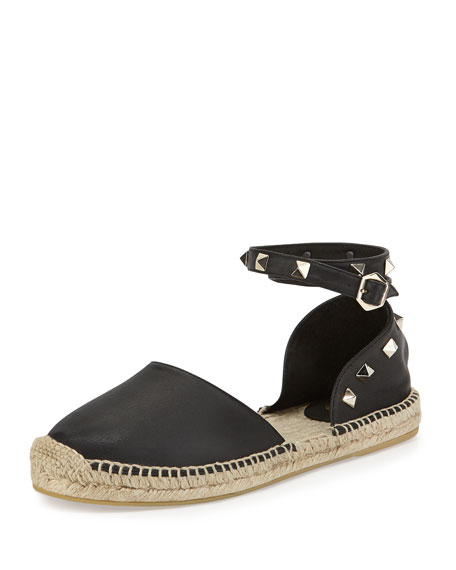 Ash Zania Ash Leather Espadrille Flat, Black
