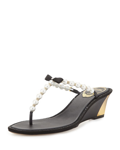 Pearly Bow Wedge Sandal, Black