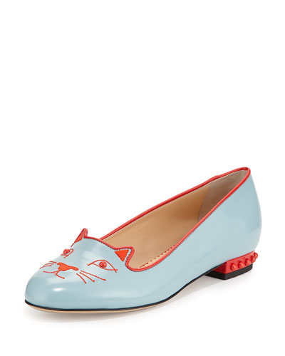 Kitty Studs Leather Flat, Blue/Gray
