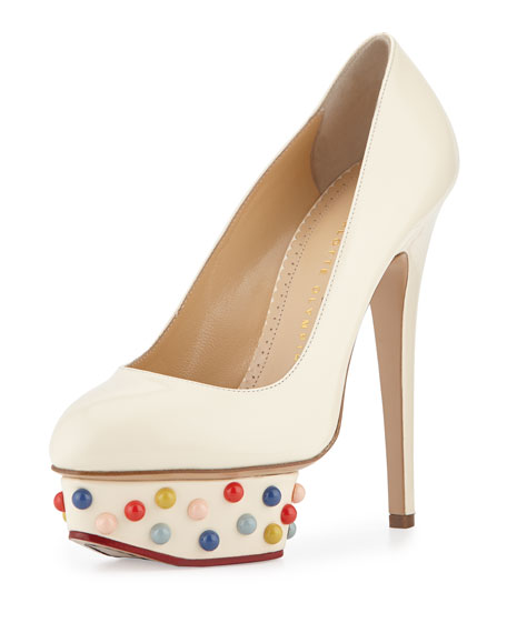 Charlotte Olympia Dolly Studs Platform Pump, Off White