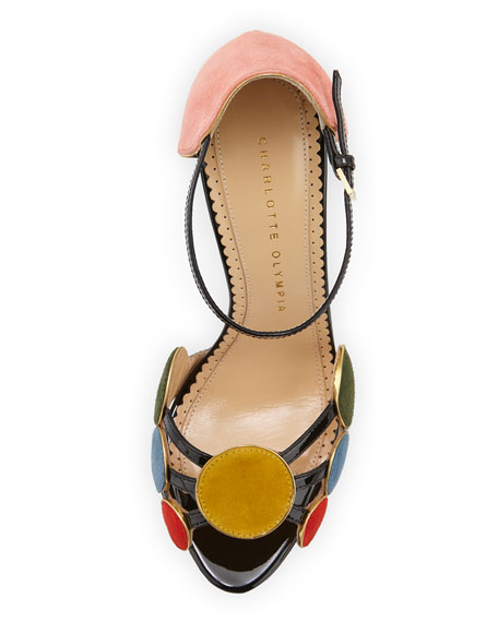 Charlotte Olympia Contemporary Suede Circle Sandal, Multi