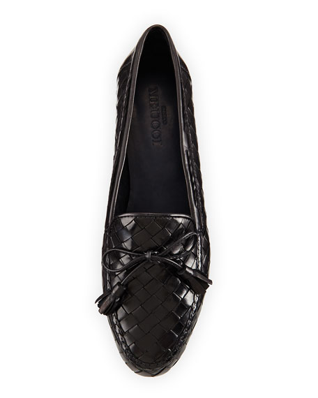 Nicole Woven Leather Loafer, Black