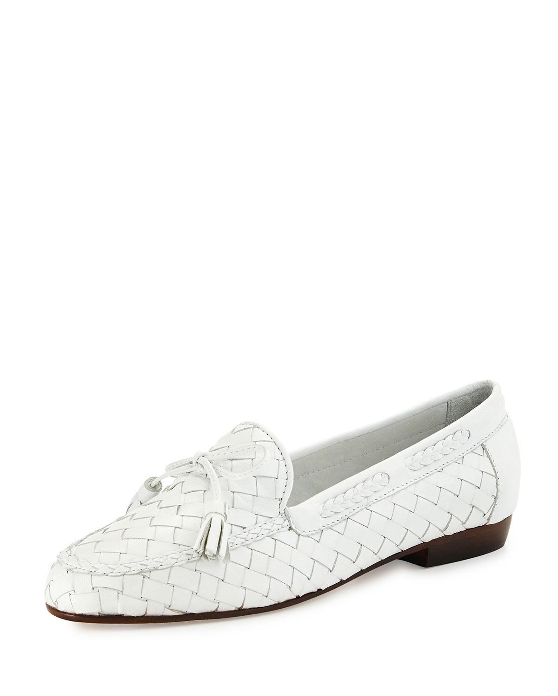 Sesto Meucci Nicole Woven Leather Loafer, White