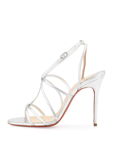Metallic Crisscross Red Sole Sandal, Silver