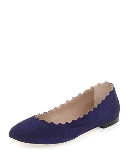 Lauren Scalloped Suede Ballerina Flat, Blue