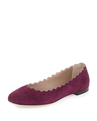 Wavy Suede Ballerina Flat, Ultra Violet