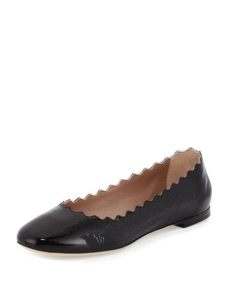 Chloe Scalloped Patent Leather Ballerina Flat, Black