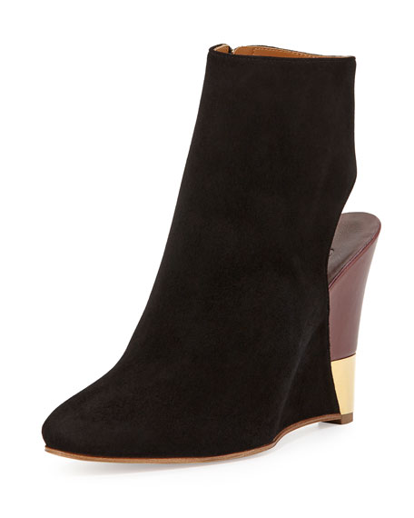 Chloe Open-Back Wedge Bootie, Black