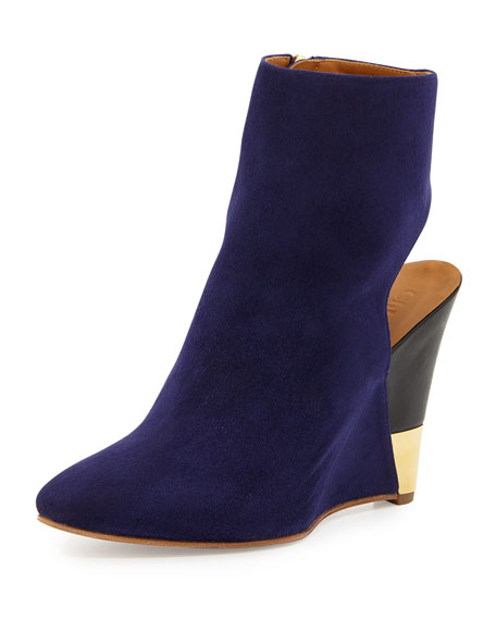 Open-Back Wedge Bootie, Storm Blue