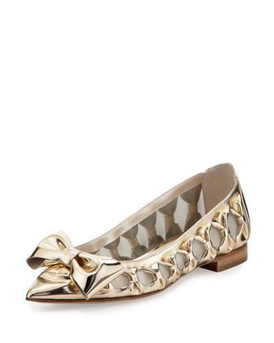 Trina Specchio Bow Flat, Platinum