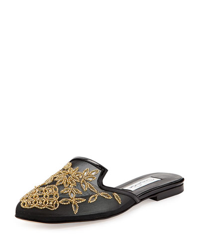 Lynda Embroidered Spanish Mule, Black