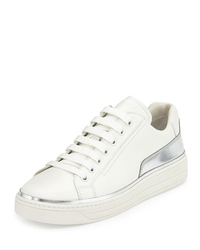 d613bb53 Prada Linea Rossa Leather Lace-Up Sneaker, White/Silver Buy Online ...