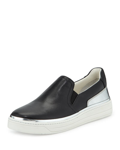 Slip-On Leather Sneaker, Nero/Argento