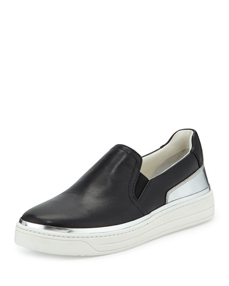 Prada Slip-On Leather Sneaker, Nero/Argento