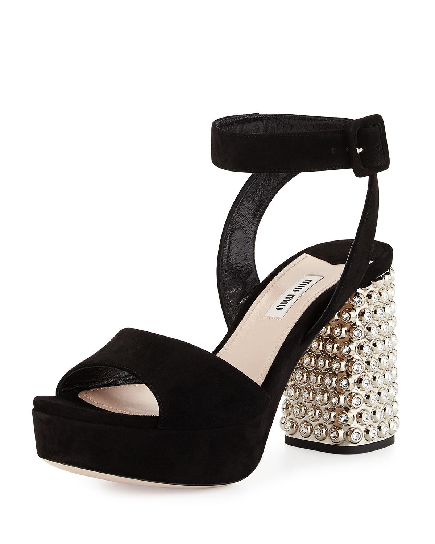 b5e33654133 Miu Miu Suede Sparkle-Heel Sandal
