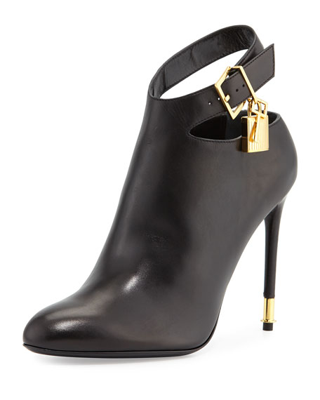 TOM FORDLeather Ankle-Strap Bootie, Black
