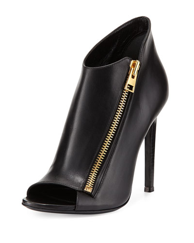 Calf Leather Side-Zip Bootie, Black