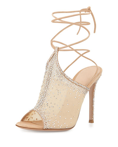 Organza Crystal Lace-Up Sandal, Nude