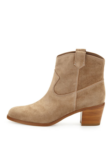 Suede Western Ankle Bootie, Nude