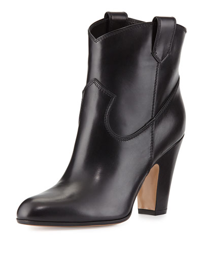 Western High-Heel Bootie, Black