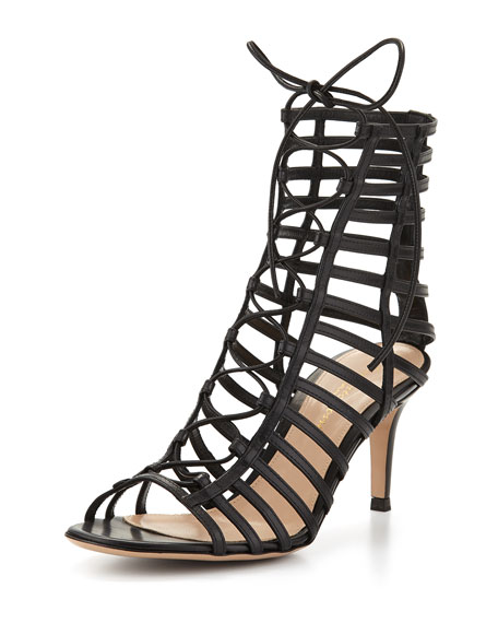 Caged Leather Lace-Up Sandal, Black
