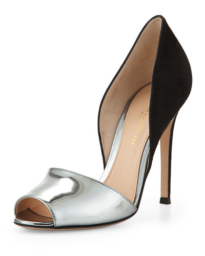 Open-Toe d'Orsay Pump, Black/Silver