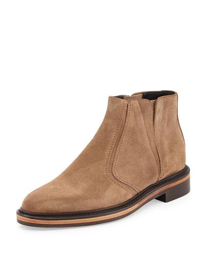 Velvet Calfskin Ankle Boot, Hazel