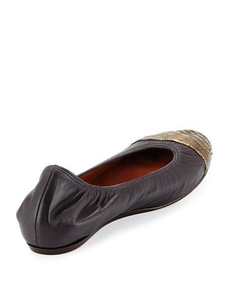 Metallic Cap-Toe Ballet Flat, Anthracite/Black