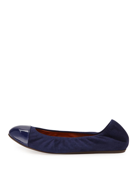 Suede & Patent Ballet Flat, Navy