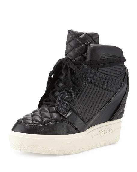 ash azimut high top wedge sneaker black. Black Bedroom Furniture Sets. Home Design Ideas