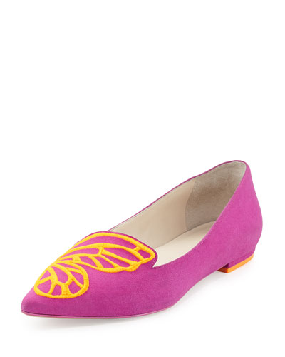 Papillon Embroidered Suede Flat, Neon Plum