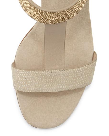 Chain-Detail T-Strap Sandal
