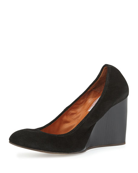 Lanvin Velvet Suede Ballerina Wedge Pump, Black