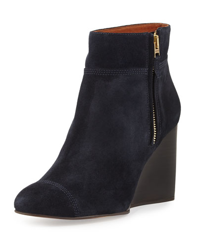 Suede Wedge Bootie, Dark Blue