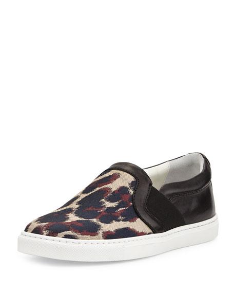 Lanvin Leopard Jacquard & Leather Skate Sneaker, Beige/Black