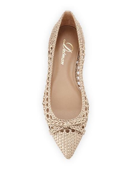 Shana Woven Leather Flat, Platino