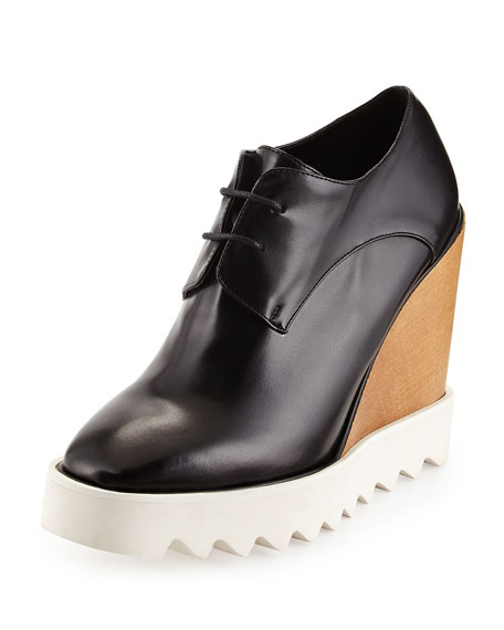 Stella McCartney Faux-Leather Wedge Oxford, Black
