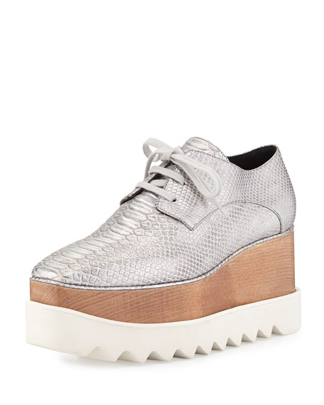 Stella McCartneyTextured Faux-Leather Wedge Oxford, Silver