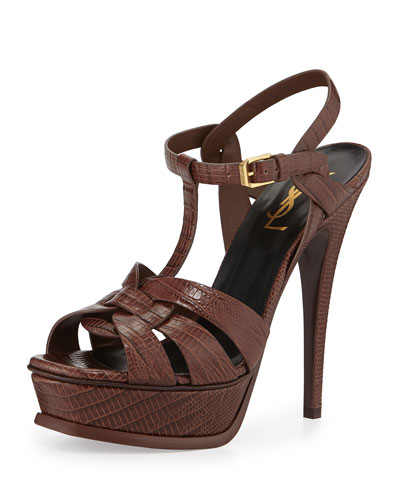 Tribute Lizard-Embossed Sandal, Brandy