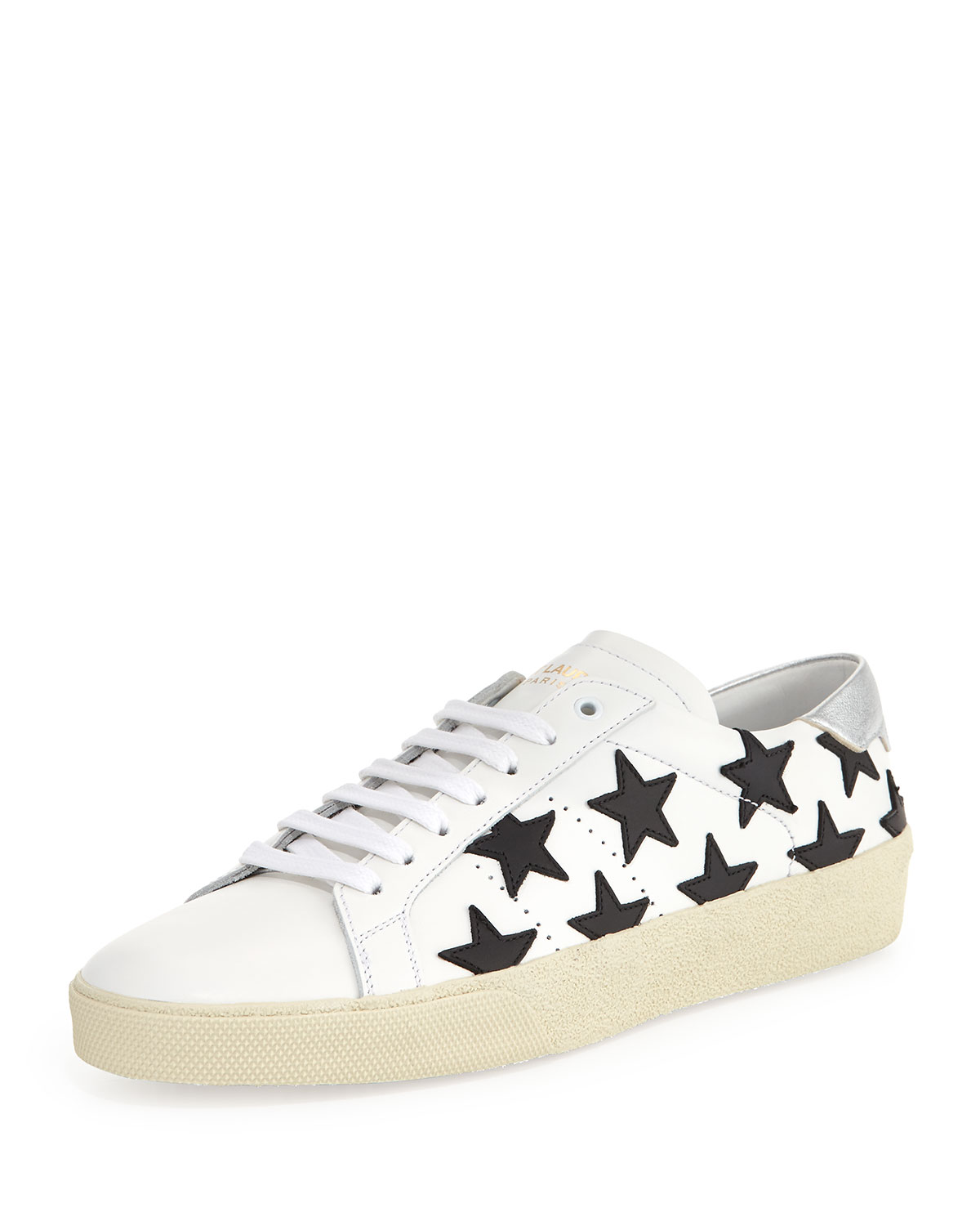 296c521dce5 Saint Laurent Star-Embroidered Leather Sneaker | Neiman Marcus