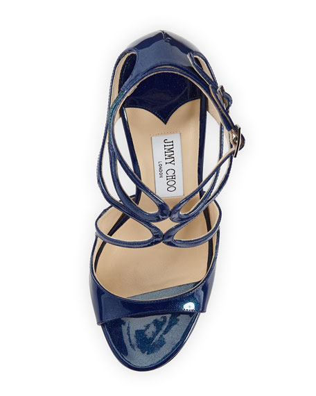 Lace Glitter Patent Strappy Sandal, Ocean