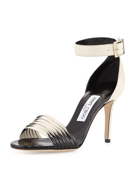 Jimmy ChooLivvi Napa & Patent Sandal, Off White/Black