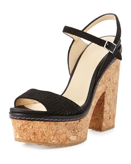 Jimmy ChooNaylor Textured Suede Platform Sandal, Black
