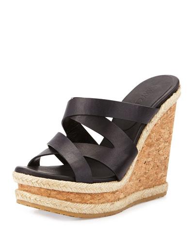 Prisma Vachetta Wedge Sandal, Black
