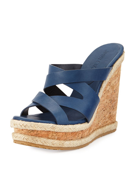 Jimmy Choo Prisma Vachetta Wedge Sandal, Navy