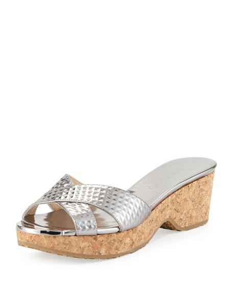 Jimmy Choo Panna Metallic Sandal Slide, Steel