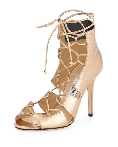 Myrtle Metallic Lace-Up Sandal, Gold