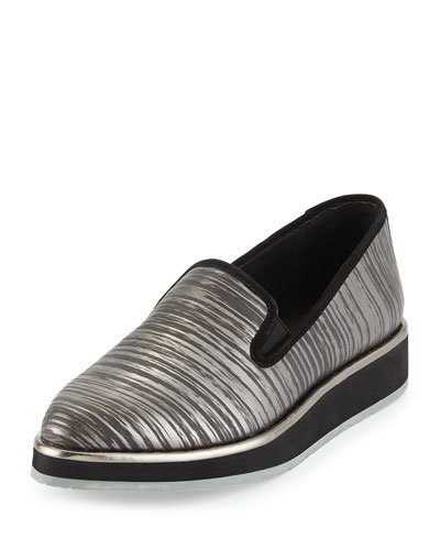 Betina Streaked Metallic Loafer, Pewter