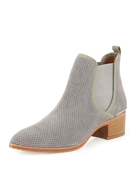 Diaz Perforated Suede Ankle Boot, Gray